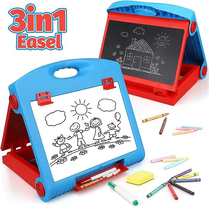 STEAM Life Tabletop Easel for Kids - Art Easel for Toddler - Chalkboard White Board for Kids - Dry Erase Table Top Easel for Kids - Portable Desktop Easel and Art Set for Toddlers and Kids 3 4 5 6 7