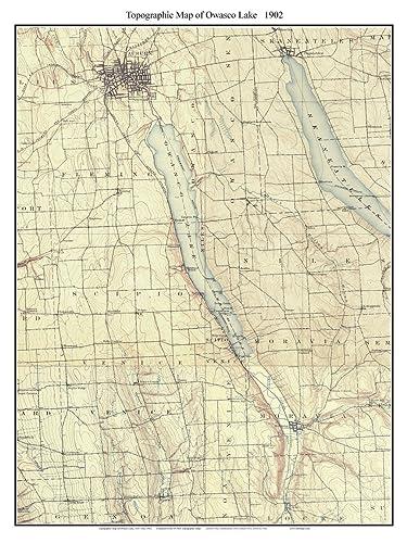 Amazon.com: Owasco Lake - 1902 USGS Old Topographic Map Custom ...