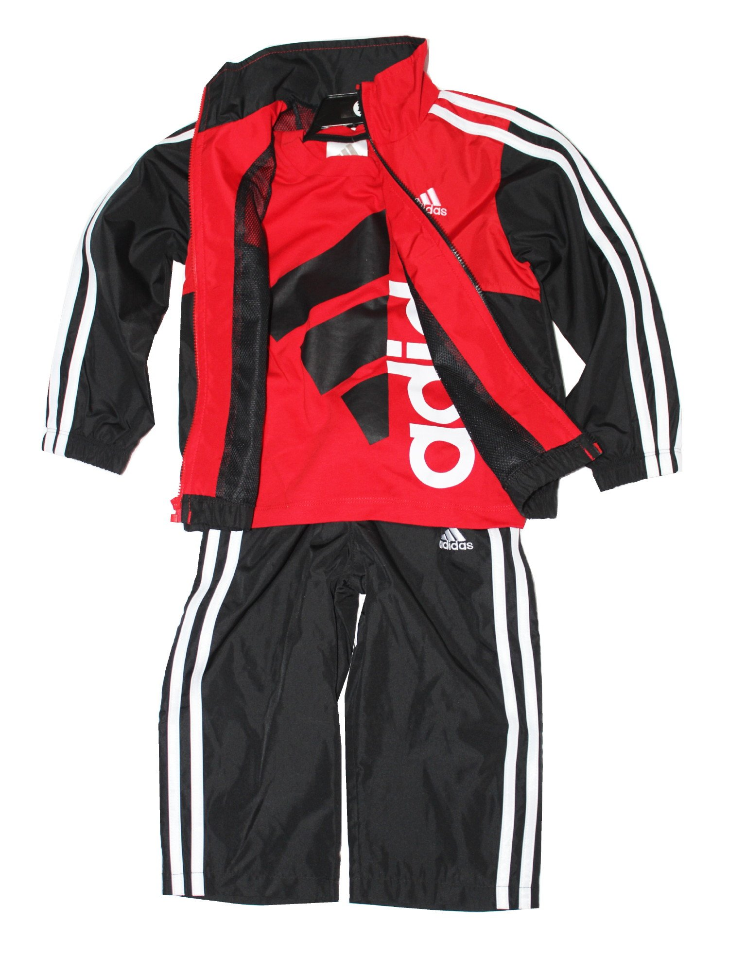 Adidas Boys 3-piece Athletic Windsuit, Bright Red, 6 by adidas