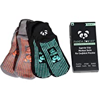 Panda Paw Fit Yoga Pilates Socks With Grips for Non-Slip No Skid Stability in Class, At Home or Rehab Hospital. Hygienic, Breathable Sticky Grippy Traction Soles