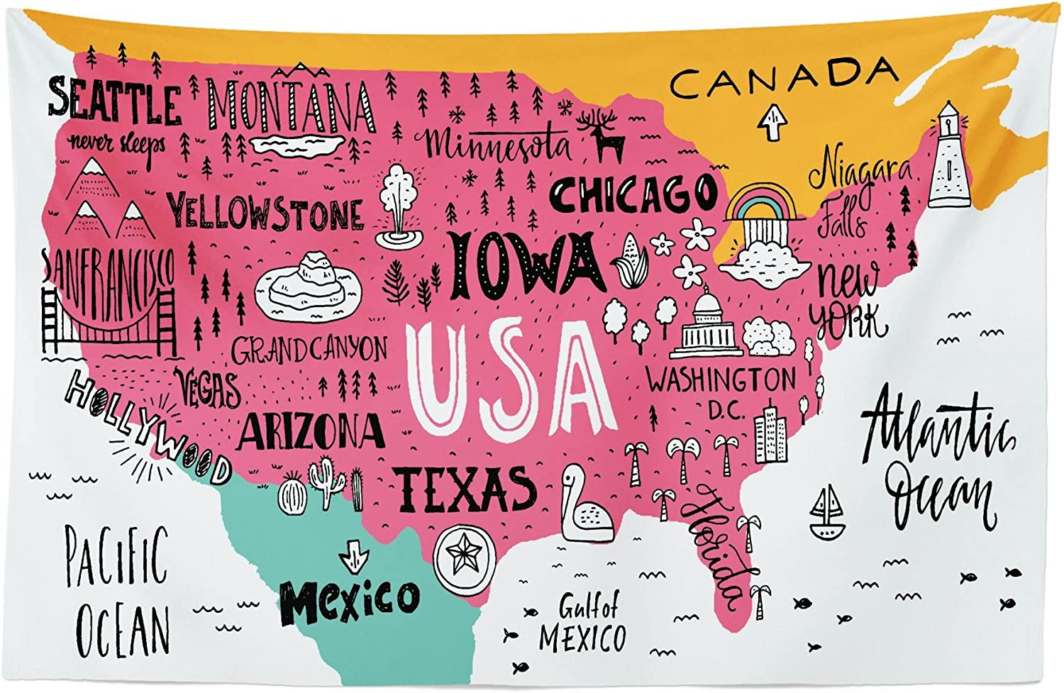 Lunarable USA Map Tapestry, American Cities Calligraphy on Plan Arizona New York Chicago Cartoon, Fabric Wall Hanging Decor for Bedroom Living Room Dorm, 45