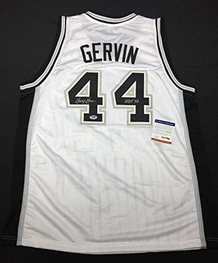 brand new b36b5 67cf7 George Gervin Signed Black San Antonio Spurs Basketball ...