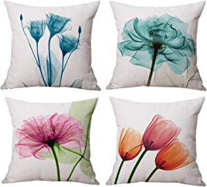 Geepro 18 x 18 inches Cotton Linen Floral Decorative Throw Pillow Cover Home Decor Flower Sofa Cushion Covers Set of 4 (Blue)