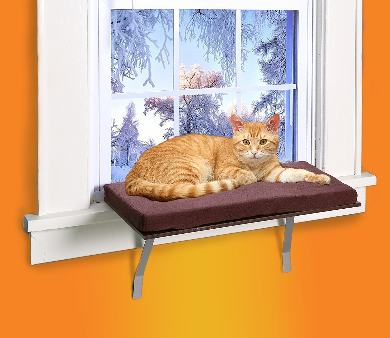 KLEEGER Cat Window Perch seat: Sunny Kitty Window Sill Shelf Fleece Foam Cushion & Washable Cover - Easy Setup
