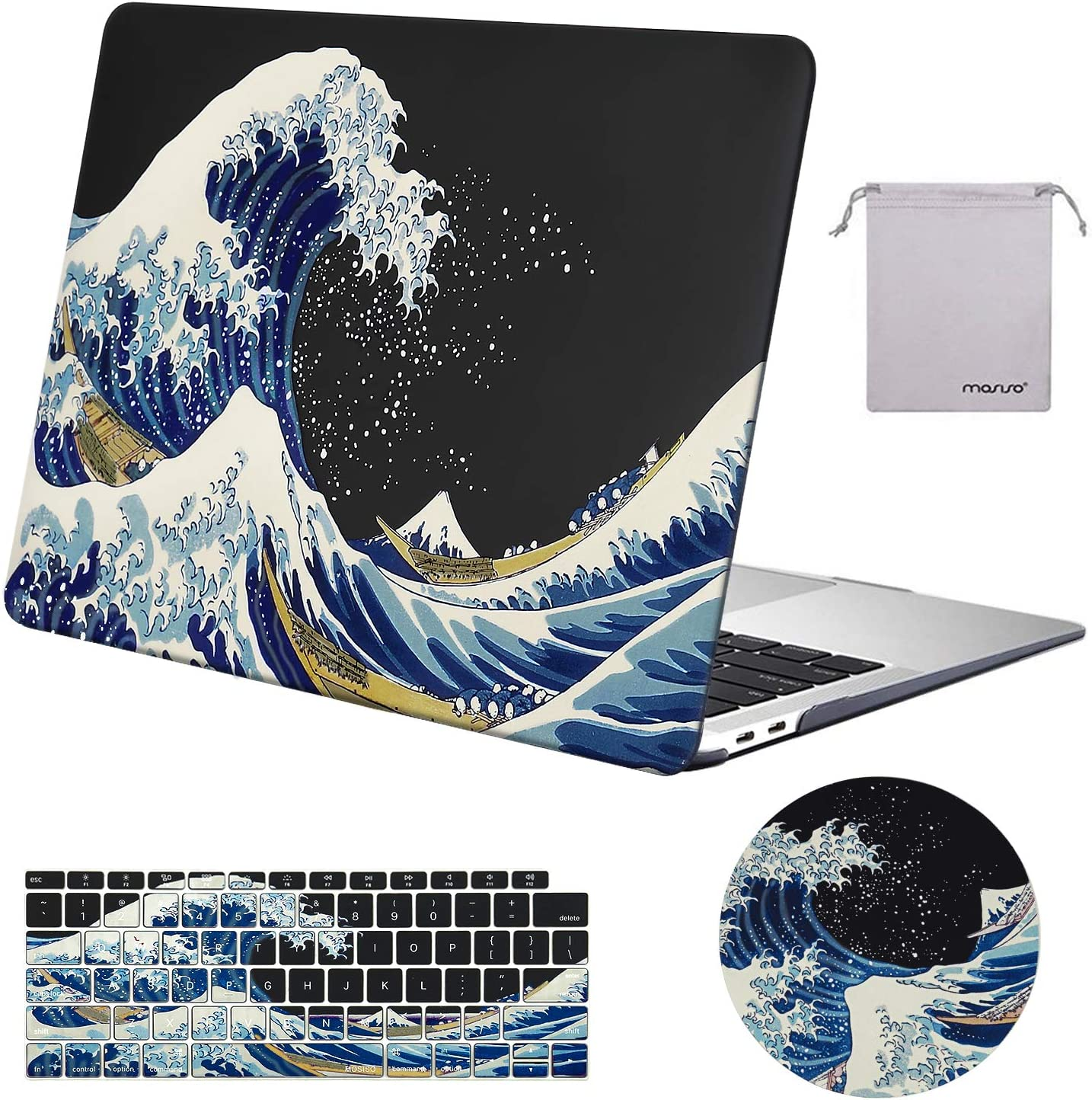MOSISO MacBook Air 13 inch Case 2020 2019 2018 Release A2179 A1932 Retina Display,Plastic Pattern Hard Case&Keyboard Cover&Mouse Pad&Storage Bag Only Compatible with MacBook Air 13,Sea Wave Black Base