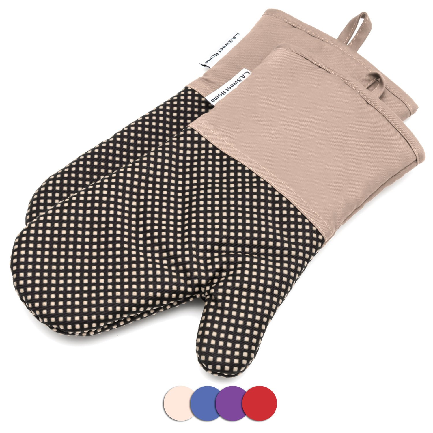 Silicone Oven Mitts Cooking Gloves 480 F Heat Resistant Square Dot Pattern Non-Slip Grip Pot Holders for Kitchen Oven BBQ Grill and Fire Pits for Cooking Baking 7x13 inch 1 pair Khaki by LA Sweet Home