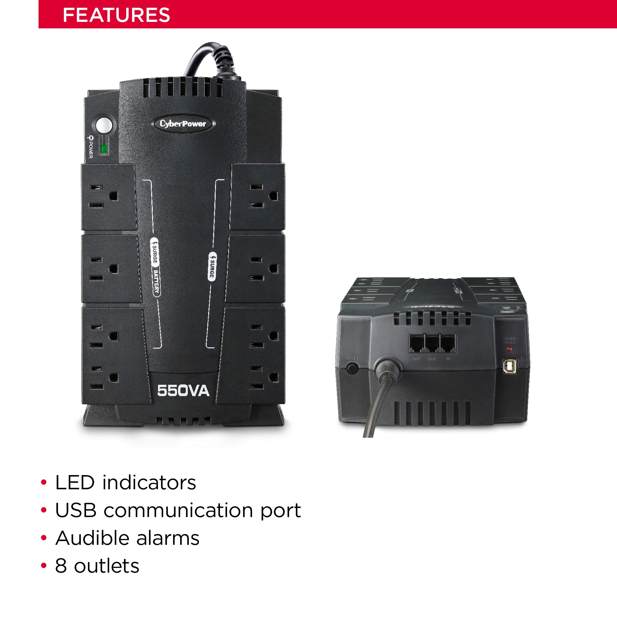 CyberPower CP550SLG Standby UPS System, 550VA/330W, 8 Outlets, Compact by CyberPower (Image #3)