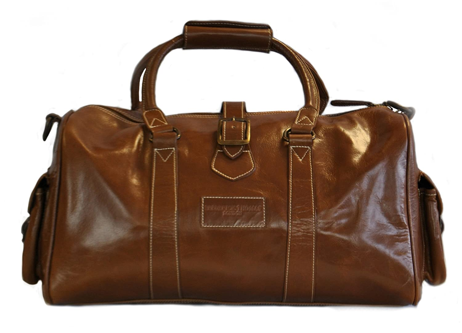 4bf06e1e5de0 Tan brown leather weekend holdall overnight bag with genuine leather handles  and detailing by Frederick Thomas  Amazon.co.uk  Luggage