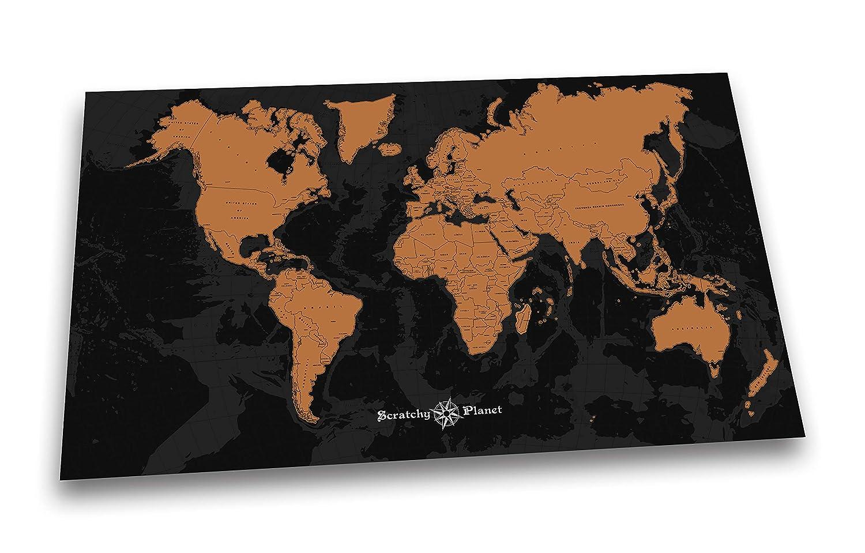 Scratchy Planet - Mapamundi de diseño para rascar, mapamundi para rascar, atlas para rascar, mapa internacional para rascar, mapa XL, versión de diseño en ...