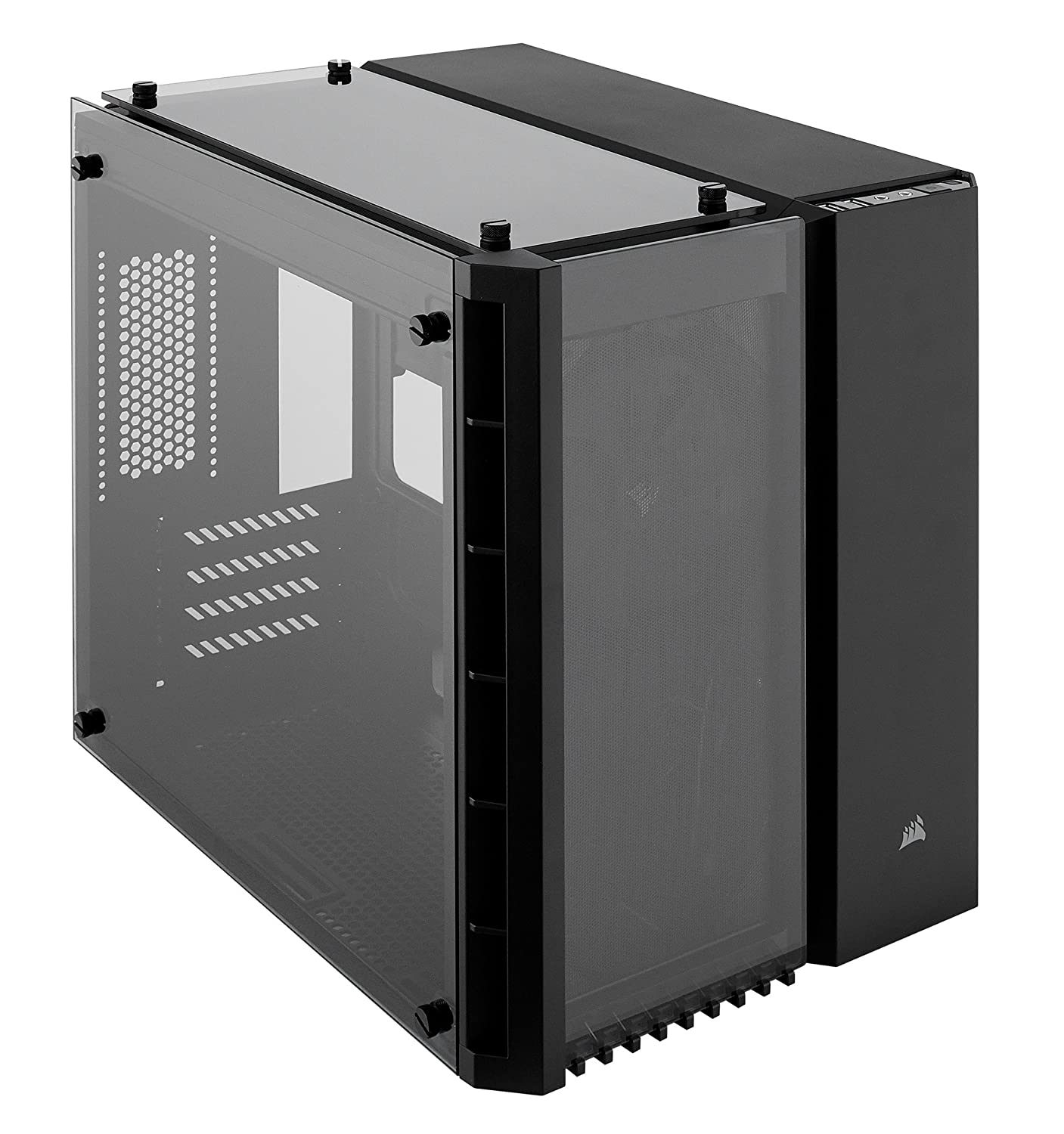 Corsair CC WW 280X Crystal Tempered Glass Micro ATX PC Case Black Amazon puters & Accessories