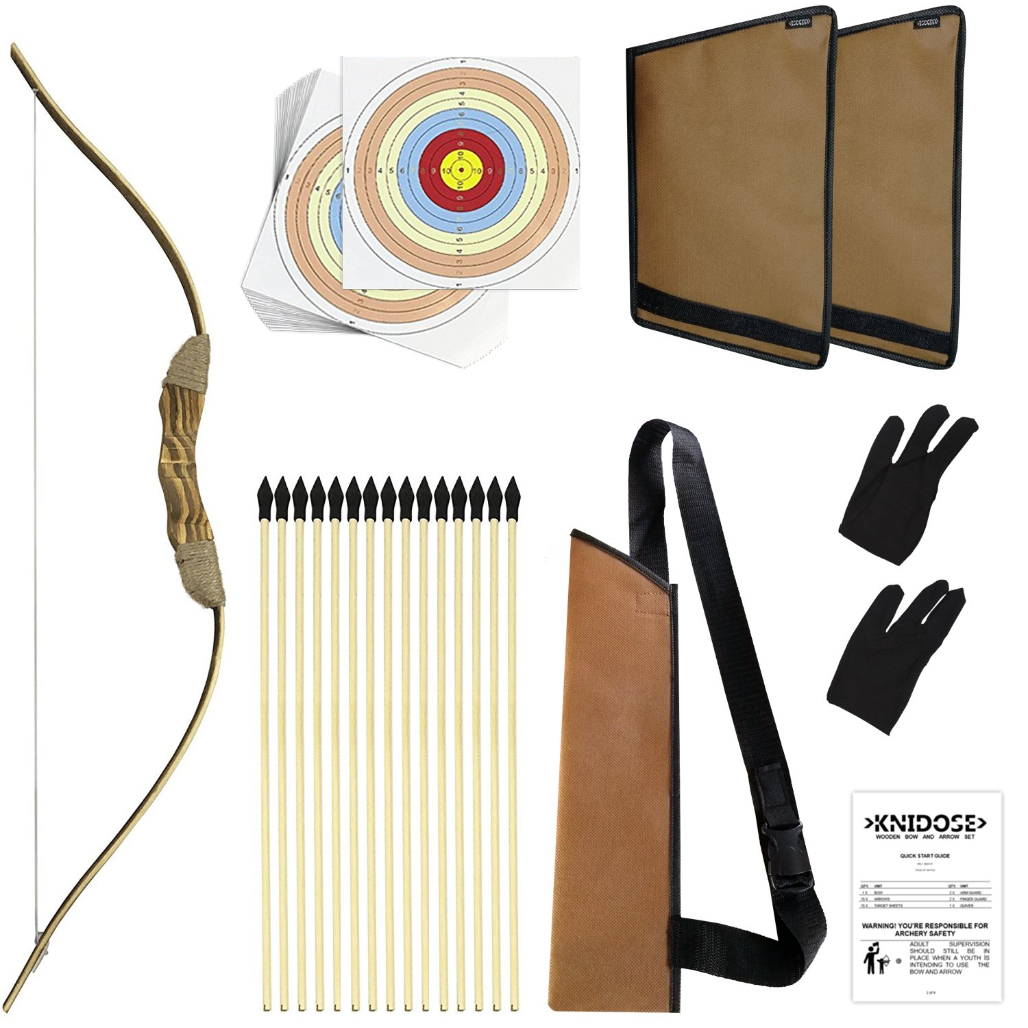 Knidose Beginners Bow Arrow Kids | 36 Pieces Safe Archery Set Outdoor Indoor Fun, Handcrafted Wooden 1 Bow, 15 Arrows, 15 Target Sheets, 1 Quiver, 2 Arm 2 Finger Guards Shooting Toy