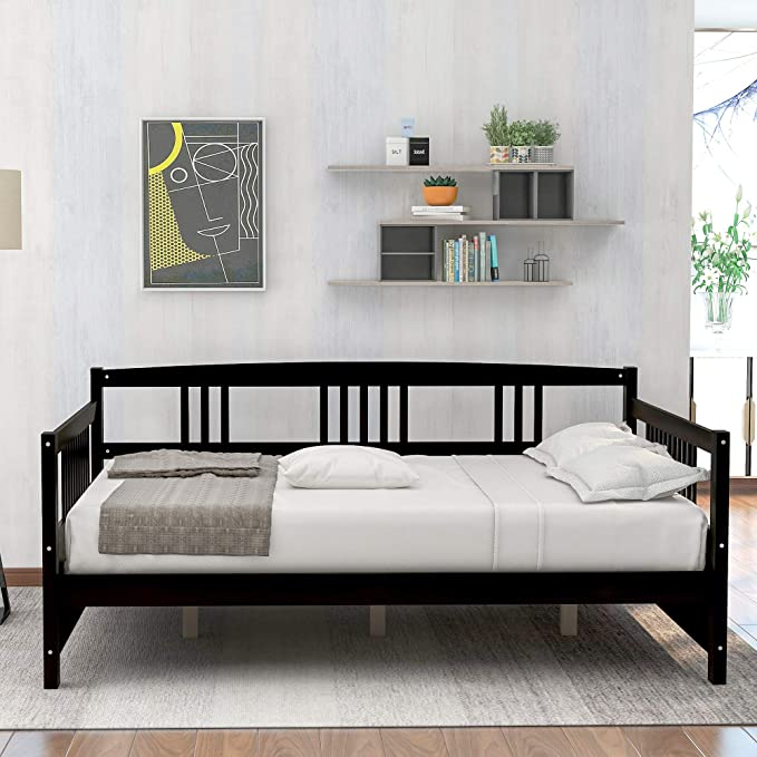 Flieks Wooden Daybed With Twin Size Trundle And 10 Wooden Slats Support Espresso Twin Kitchen Dining