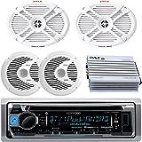 "Kenwood Bluetooth USB CD Marine Boat Yacht Radio Stereo, 2 X 6x9"" Inch Marine Speakers & 2 X 6.5"" Marine Speakers, 400W Marine Amplifier System - Outdoor Marine Audio Kit"