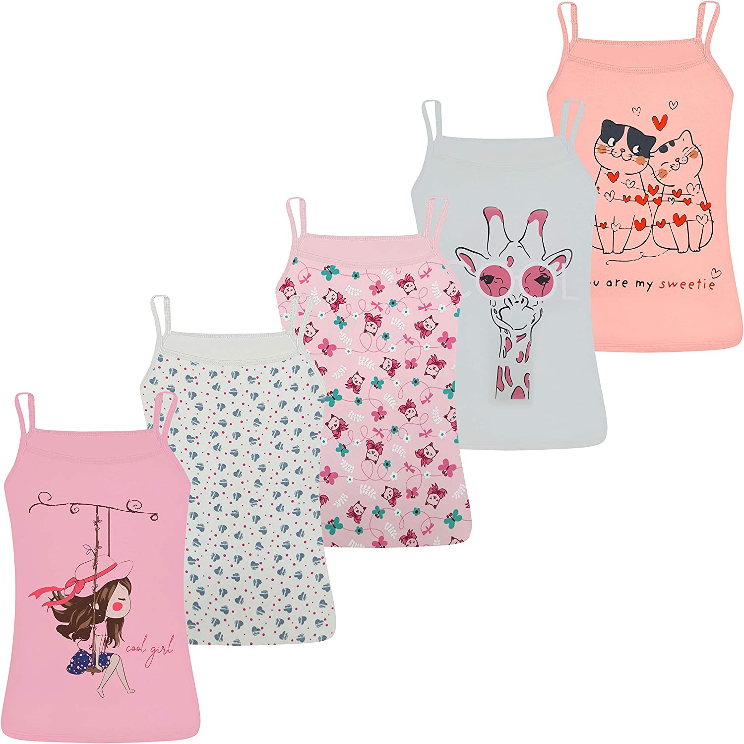 Pack of 5 Comfortable and Soft on The Skin LOREZA /® 5 Girls Vests Sleeveless Spaghetti Strap Tops with Different Motifs Cotton