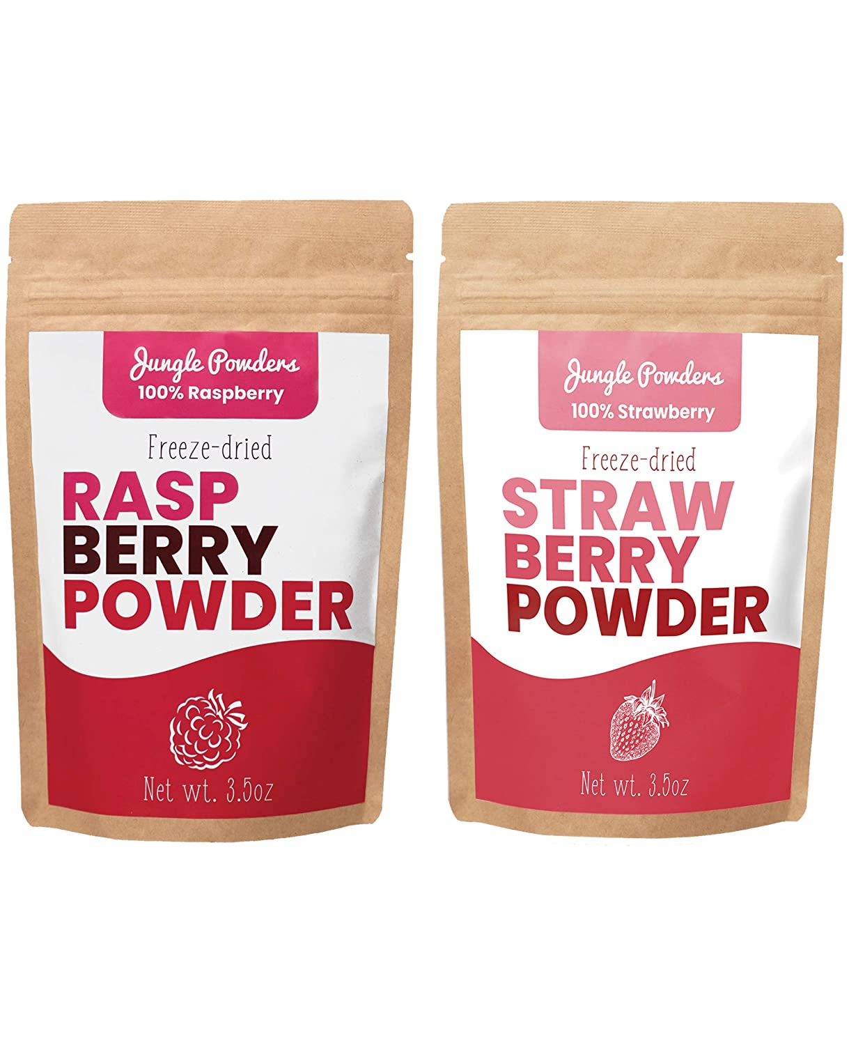 Jungle Powders Raspberry And Strawberry Powder Bundle | 3.5oz 100% Natural Non GMO Vegan Friendly Pink Freeze Dried Raspberry and Strawberry Powder | Red Berry Superfood Concentrate