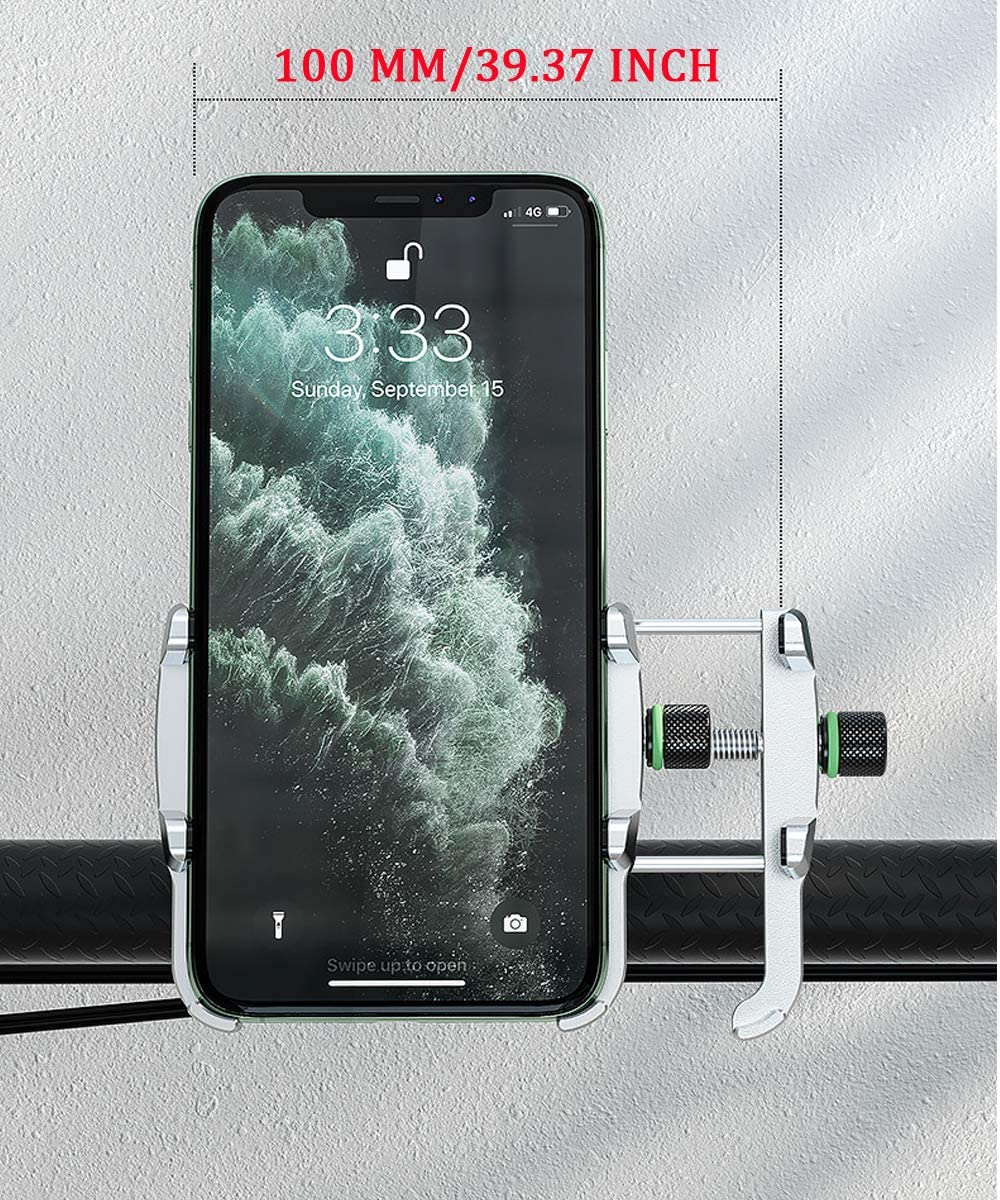 Samsung Galaxy s10 or Any Cell Phone Phone Mounted Holder for Bicycle Aluminum Alloy Adjustable 360/°Rotation Bike Phone Holder for Phone X XR Xs 7s 8 Plus