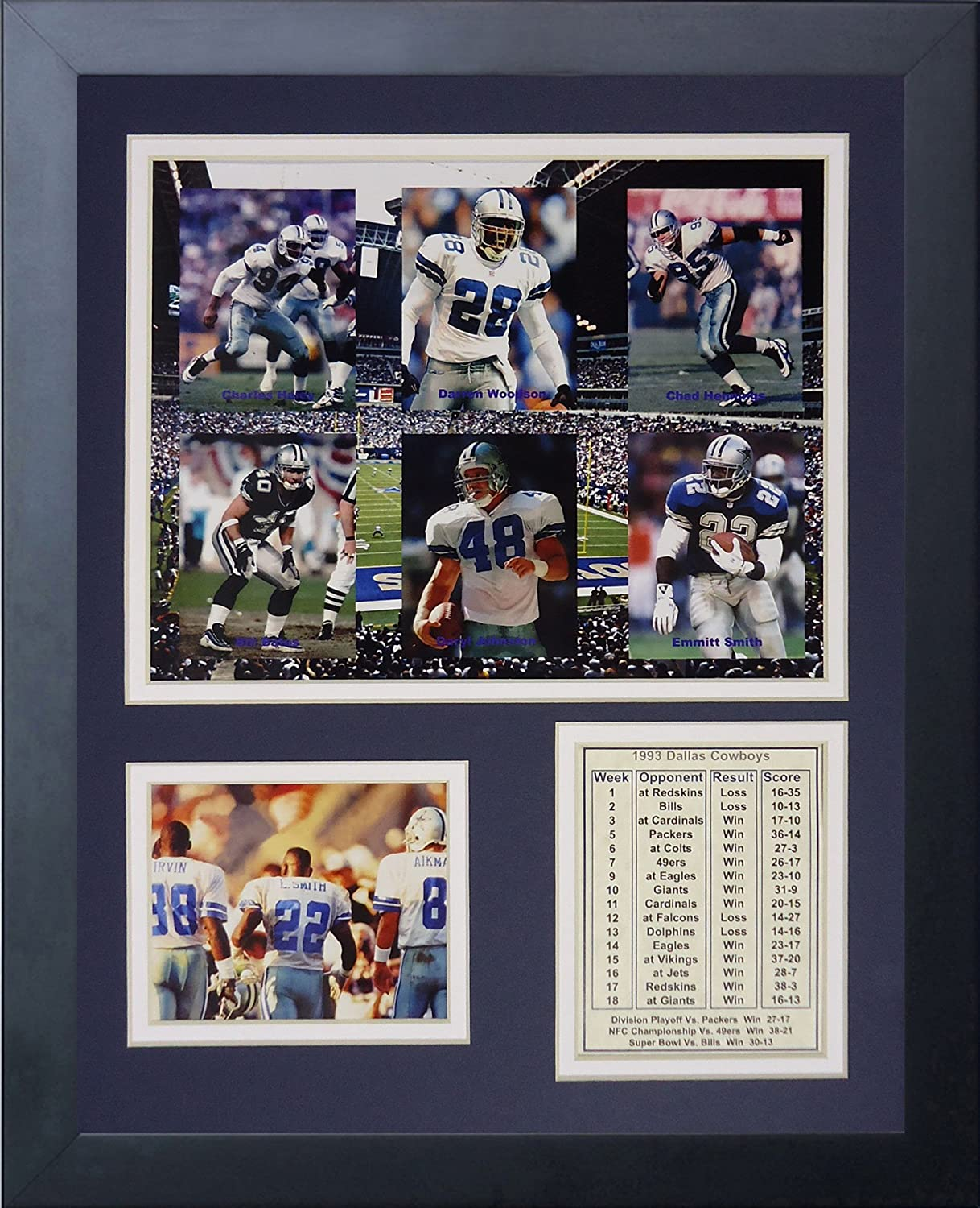 Legends Never Die Dallas Cowboys 1993 Super Bowl Champions Framed Photo Collage 11x14-Inch