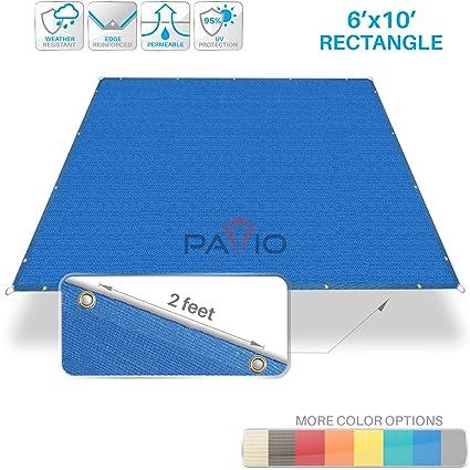 PATIO Paradise 6' x 10' Straight Edge Sun Shade Sail, Blue Rectangle  Outdoor Shade Cloth Pergola Cover UV Block Fabric - Custom 3 Year Warrenty