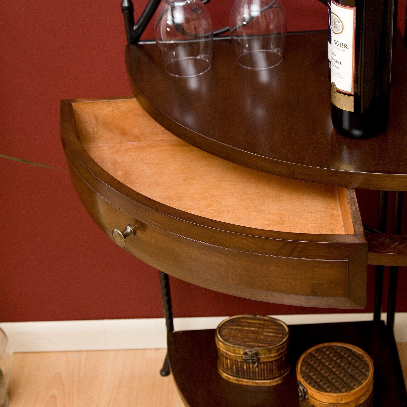 Wrought Iron Corner Bakers Rack with Wood Shelves, Heritage Oak Finish by Belham Living (Image #4)