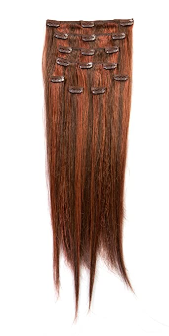 Amazon donna bella full head human clip in hair extensions donna bella full head human clip in hair extensions 20quot length color 4 pmusecretfo Image collections