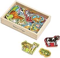 Melissa & Doug Imanes de animales de madera, juguetes de desarrollo, Westuche de madera para almacenamiento, 20 imanes...