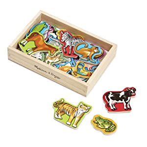 "Melissa & Doug Wooden Animal Magnets, Developmental Toys, Wooden Storage Case, 20 Animal-Inspired Magnets, 8"" H x 5.5"" W x 2"" L"