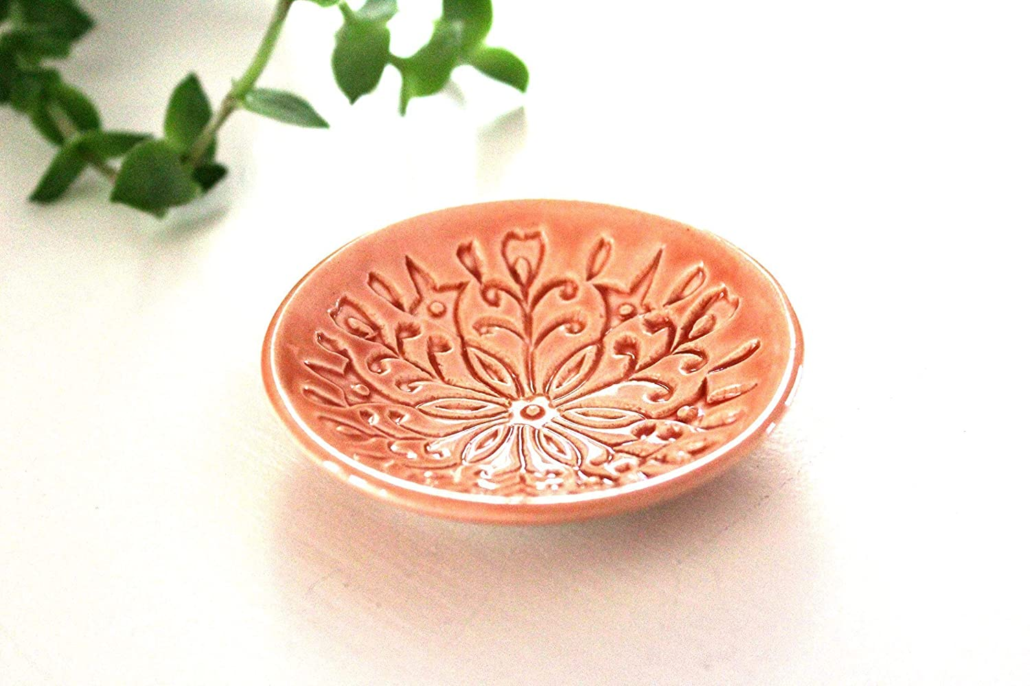 Peach Ring Holder - Handmade Jewelry Dish with Modern Scandinavian Floral Pattern
