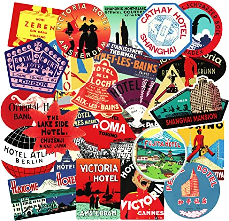 25 RETRO TRAVEL LUGGAGE STICKERS-VTG-VINYL DECAL-HOTEL NAMES//WORLD PLACES//LABELS