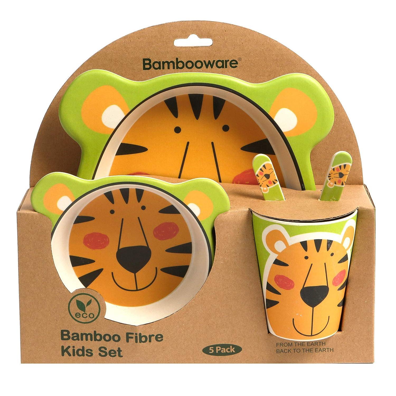 Bowls & Plates Brilliant Bamboo Eco Baby Bowl Spoon Fork Set Tiger