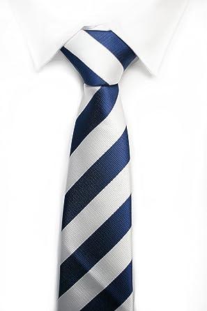 Corbata rayas anchas azul blanco: Amazon.es: Ropa y accesorios