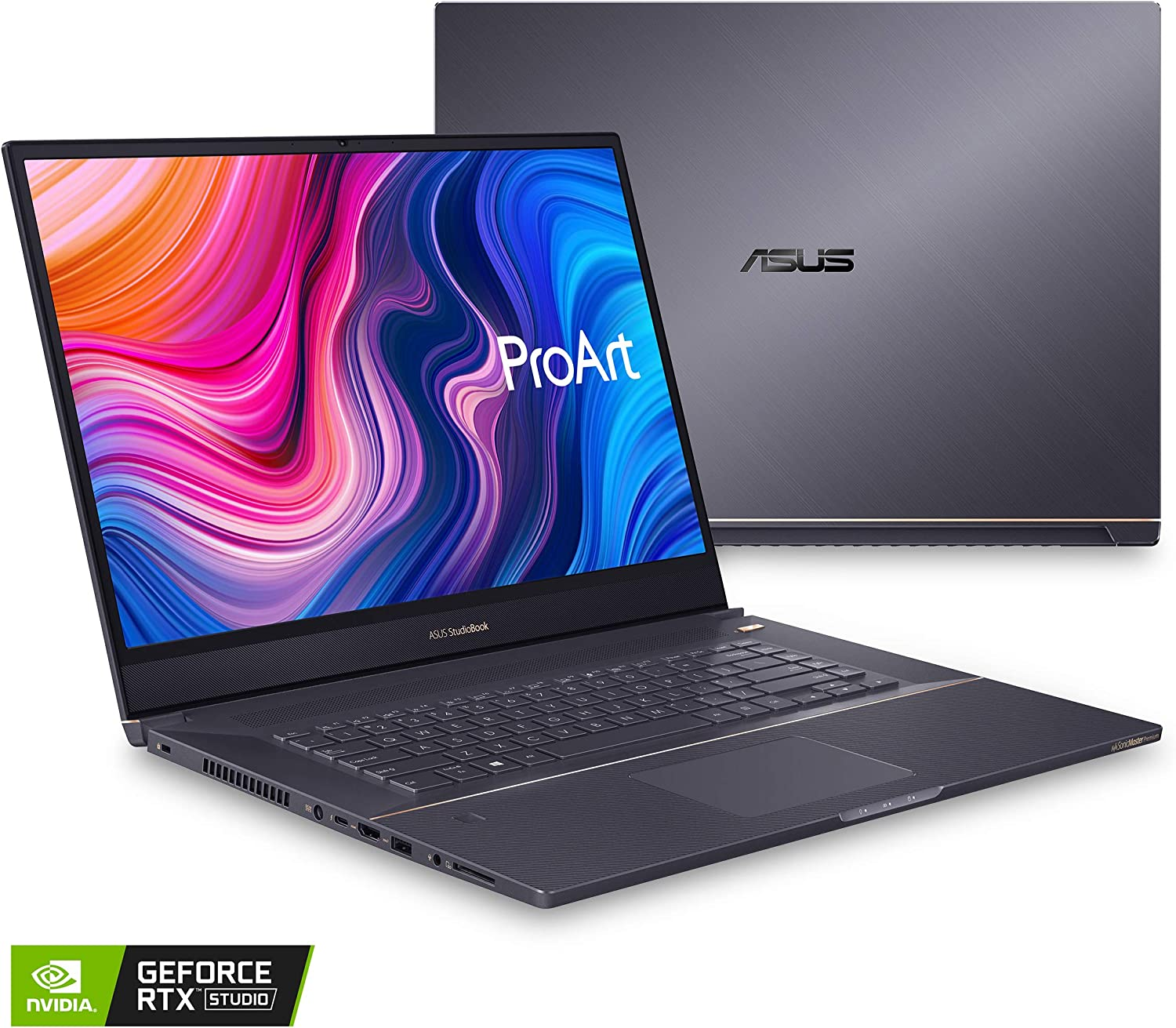 "ASUS ProArt StudioBook 17 Mobile Workstation Laptop, 17"" 16:10 NanoEdge Bezel, Intel Core i7-9750H, 32GB DDR4, 512GB+512GB RAID-0 SSD, NVIDIA GeForce RTX 2060, Windows 10 Pro, H700GV-XS76, Star Gray"
