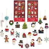 Mini Resin Christmas Ornaments Set of 24 - Rustic Christmas Decorations - Small Miniature Christmas Tree Ornaments - Santa Sn