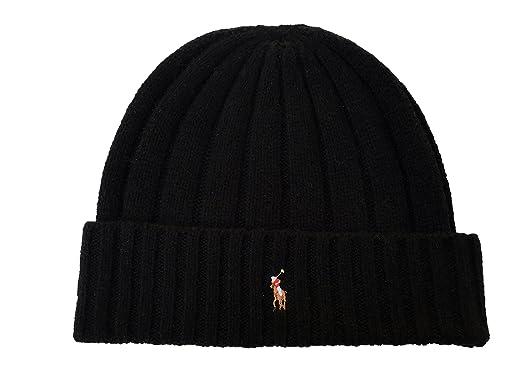 8d1591aeead Polo Ralph Lauren Unisex Lambswool Skullie Cap Black Blue Beanie Hat  Wool Nylon OS