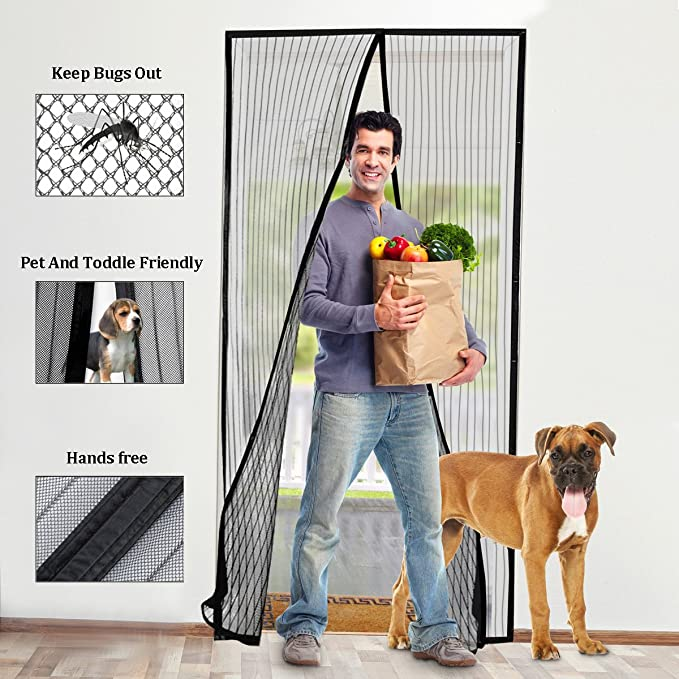 Merveilleux Fly Screen Door, BearMoo Fits 110x220CM Sticky Design Magnetic Fly Insect Screen  Door Screen For Keeping Out Flies, With Heavy Duty Mesh Curtain And Hook ...