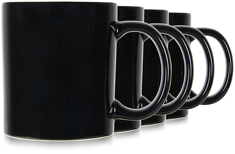 Serami 19oz Black Large Classic Mugs for Coffee or Tea. Large Handle and Ceramic Construction, Set of 4