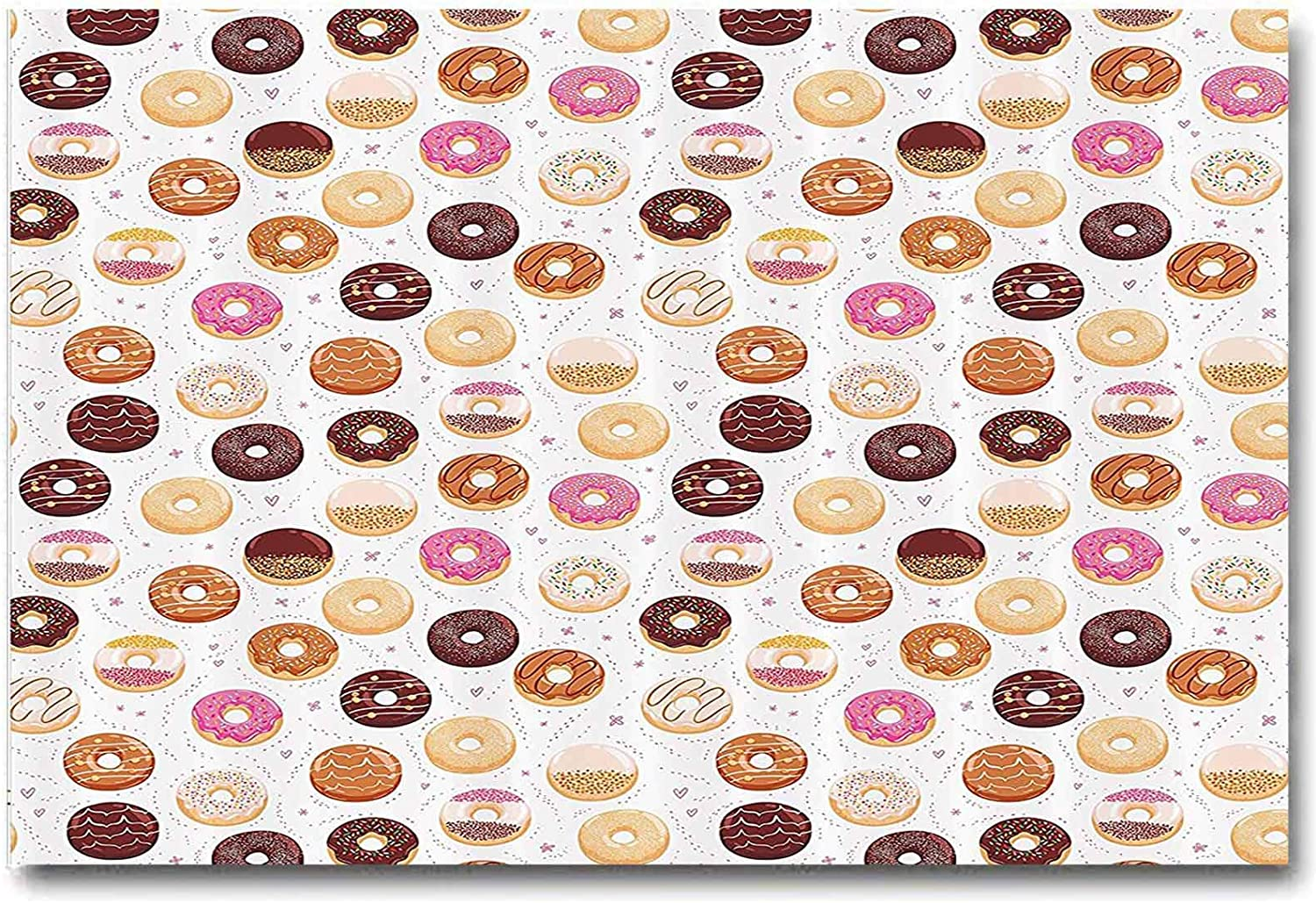ScottDecor Home Decor Metal Wall Art Outdoor Donuts and Little Hearts Pattern Colorful Yummy Delicious Dessert Cafeteria Restaurant Art Best Mens Gifts 2020 Pink Brown L24 x H48 Inch