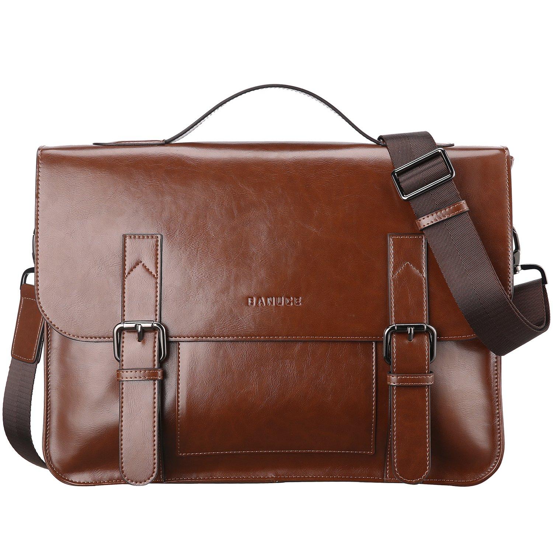 Banuce Vintage PU Leather Tote Briefcase for Men Laptop Shoulder Messenger Bag