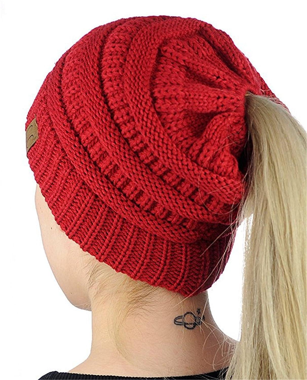 HMILYDYK mujeres cable Knit Beanie Sombreros de cola suave elástico Ponytail  Messy Bun pañuelo para la cabeza Cap para invierno otoño - GUTAILHAT-RED 37ed7689e26