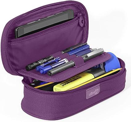 PracticOffice - Estuche Multiuso Megapak Oval para Material Escolar, Neceser de Viaje o Maquillaje. Medida 22 cm. Color Morado: Amazon.es: Oficina y papelería