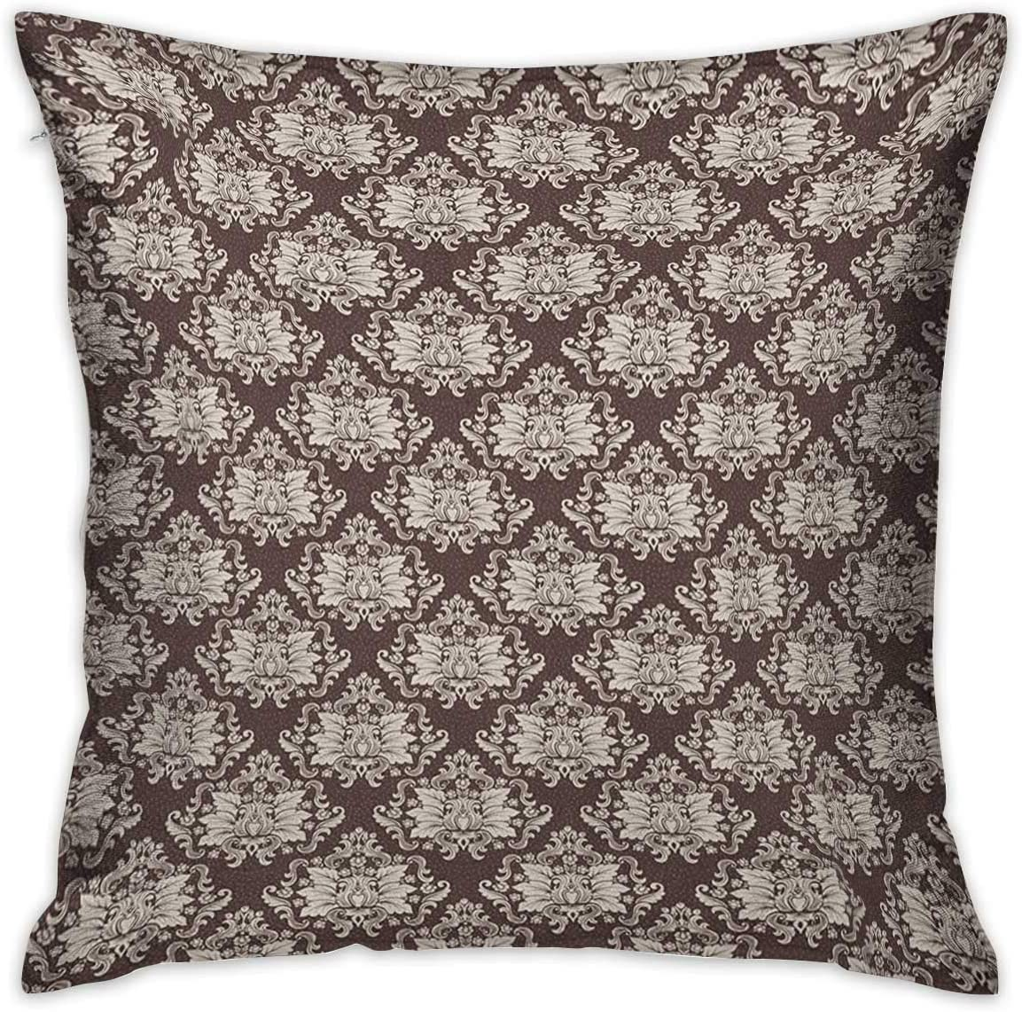 Amazon Com Krystal Magic Dasquare Standard Pillowcase Victorian Floral Pattern With Blooming Foliage Leaves On Dark Toned Backdrop Brown And Beige Cushion Cases Pillowcases For Sofa Bedroom Car Home Kitchen