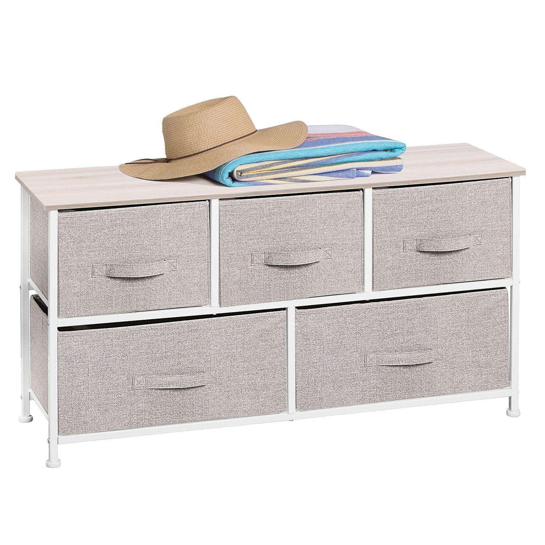 mDesign Comodino in tessuto – Pratico sistema di organizzazione con 5 cassetti – Ottima cassettiera per le camere da letto, appartamenti e stanze piccole – Beige MetroDecor