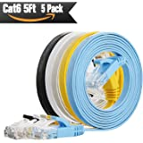 Cat6 Ethernet Cable 5ft ( 5 PACK )(At a Cat5e Price but Higher Bandwidth) Flat Internet Network Cable - Cat 6 Ethernet Patch Cable Short - Cat6 Computer Cable With Snagless RJ45 Connectors