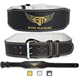 Gym Maniac GM Weight Lifting Waist Gym Belt | Adjustable Size, 2 Prong Buckle, Comfy Suede, Reinforced Stitching | Support Your Back & Alleviate Pains