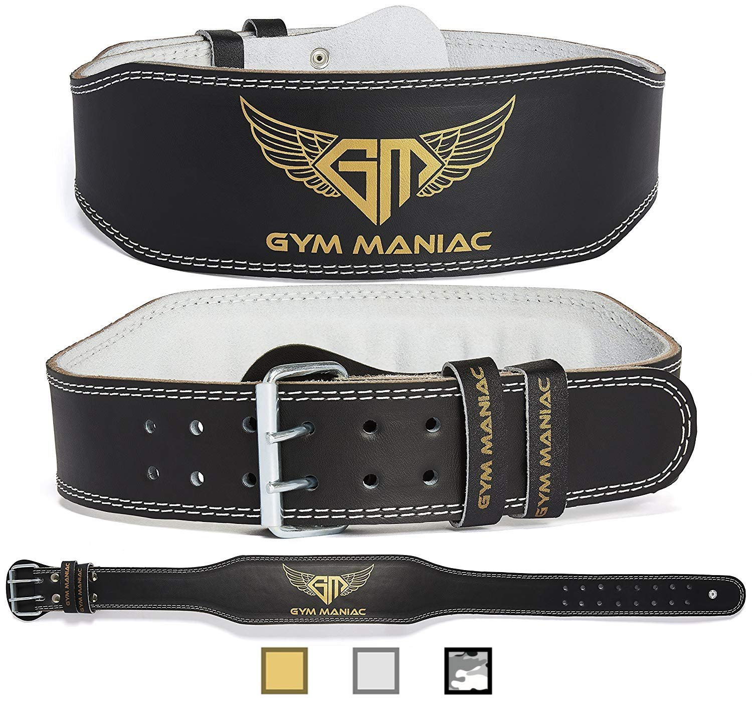Gym Maniac Weight Lifting Waist Gym Belt | Adjustable Size, 2 Prong Buckle, Comfy Suede, Reinforced Stitching | Support Your Back & Alleviate Pains (Gold, Small)