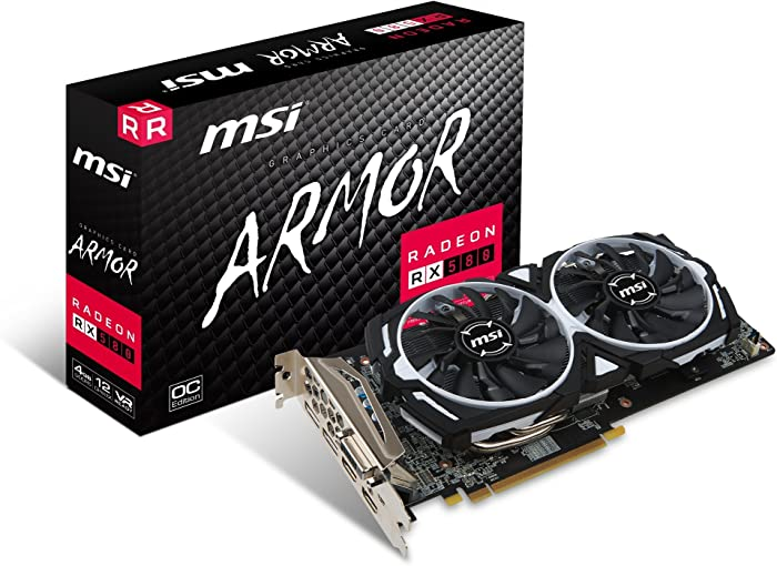 MSI Gaming Radeon RX 580 256-bit 4GB GDRR5 DirectX 12 VR Ready CFX Graphcis Card (RX 580 ARMOR 4G OC) (Renewed)
