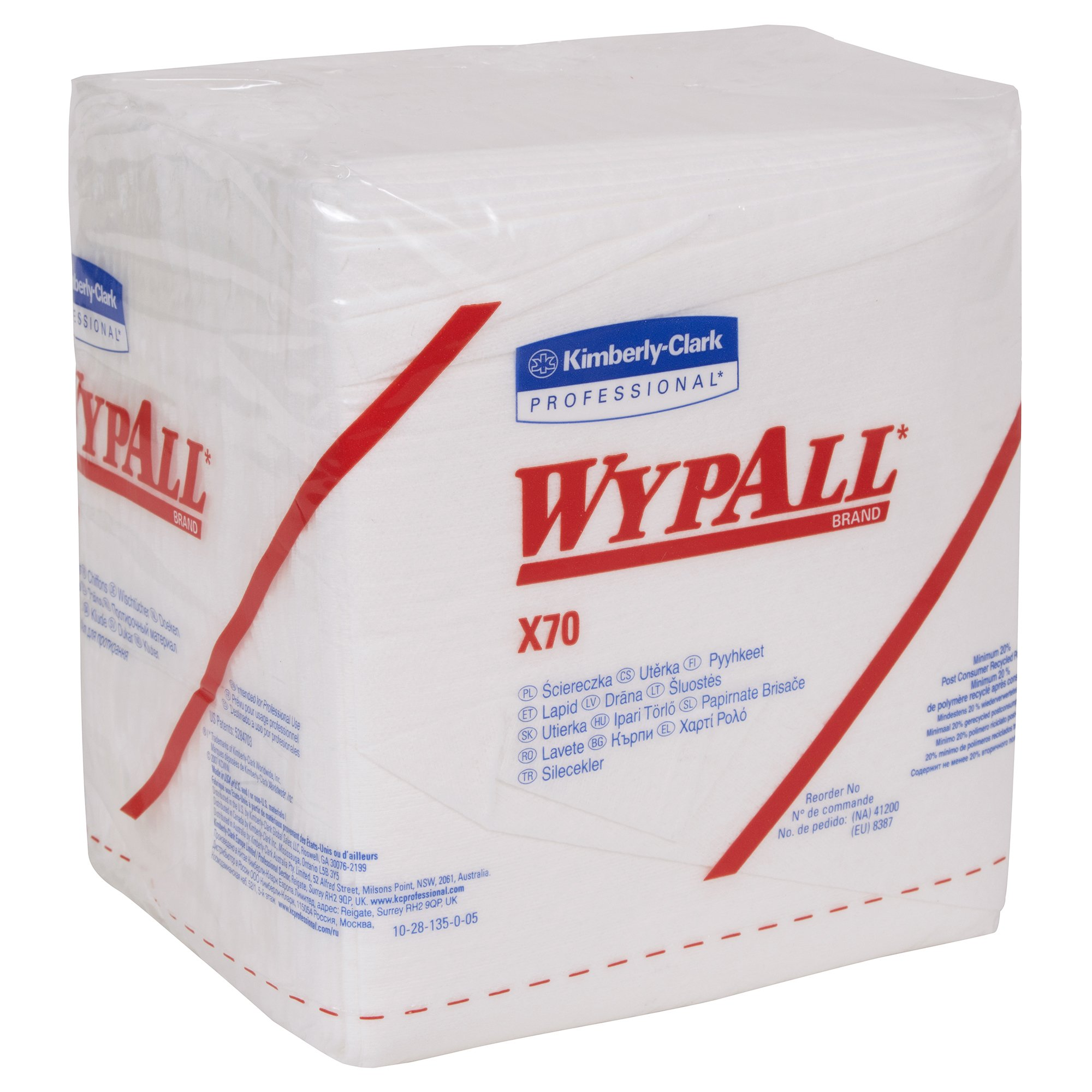 WypAll X70 Extended Use Reusable Cloths (41200), Quarterfold, Long Lasting Performance, White, 12 Packs, 76 Sheets/Pack