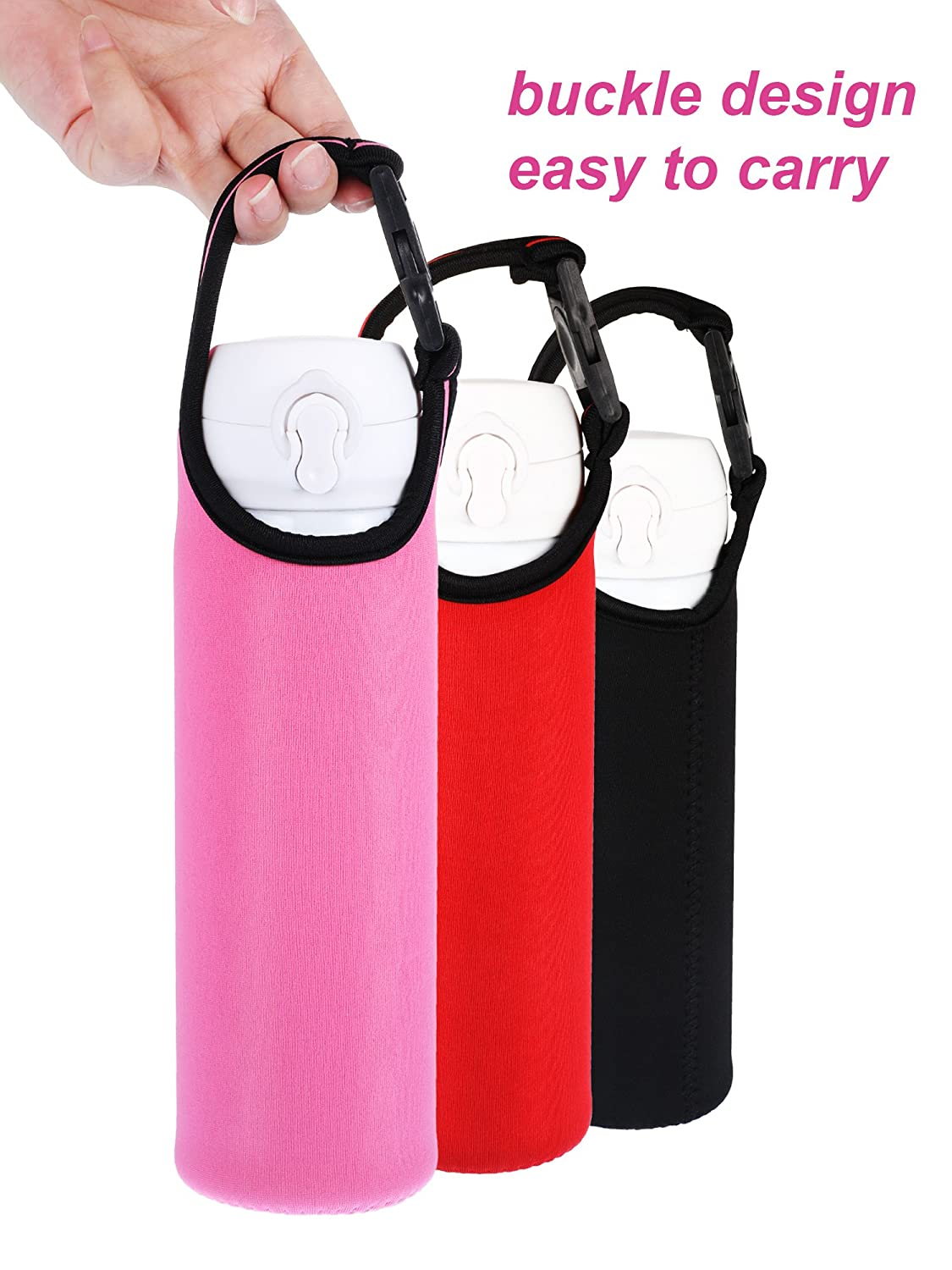 5 Colors Chengu 5 Pieces Water Bottle Sleeve Neoprene Cover Portable Bottle Holder Strap with Buckle for 500-700 ml Bottle Carriers