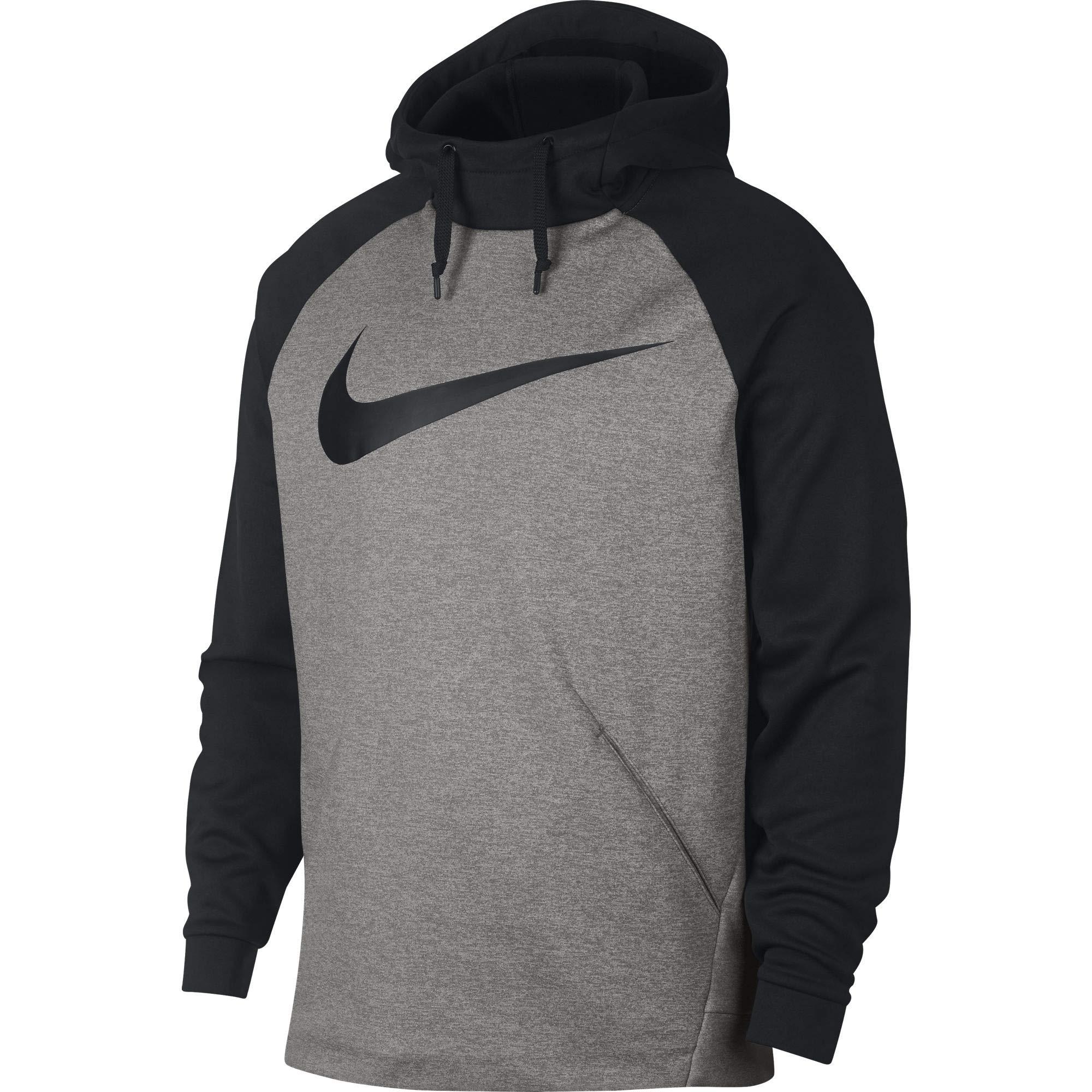 Nike Men's Therma Swoosh Training Hoodie Dark Grey Heather/Black Size Medium