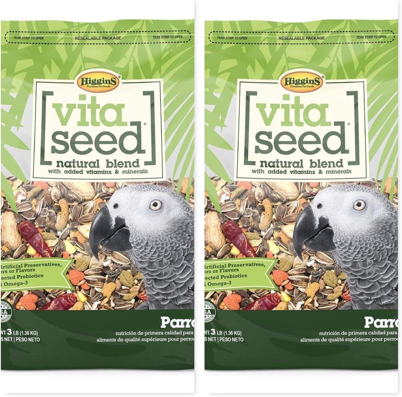 Higgins 2 Pack Vita Seed Natural Parrot Food 3 LB. Ea Parrot Food. 2 Bags 6 Pounds Total