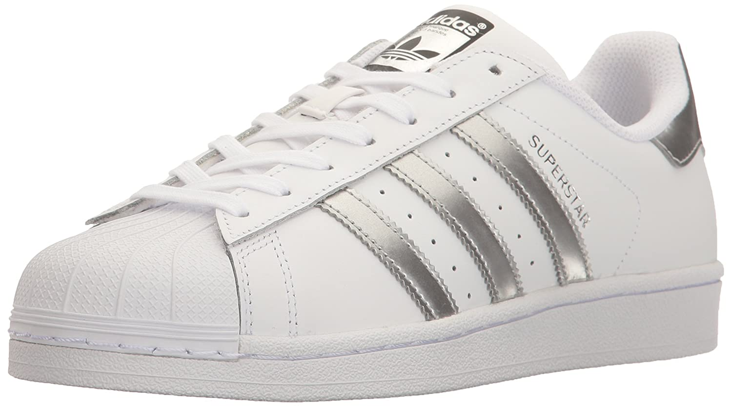 adidas Originals Women's Superstar Fashion Sneakers B01HNEGEAA 9 M US|White/Silver Metallic/Black